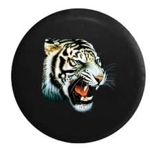 American Unlimited Blue Eyed Growling Tiger - Jungle Cat Spare Tire Cover (Fits: Jeep Wrangler Accessories or SUV Camper RV) Black 33 in