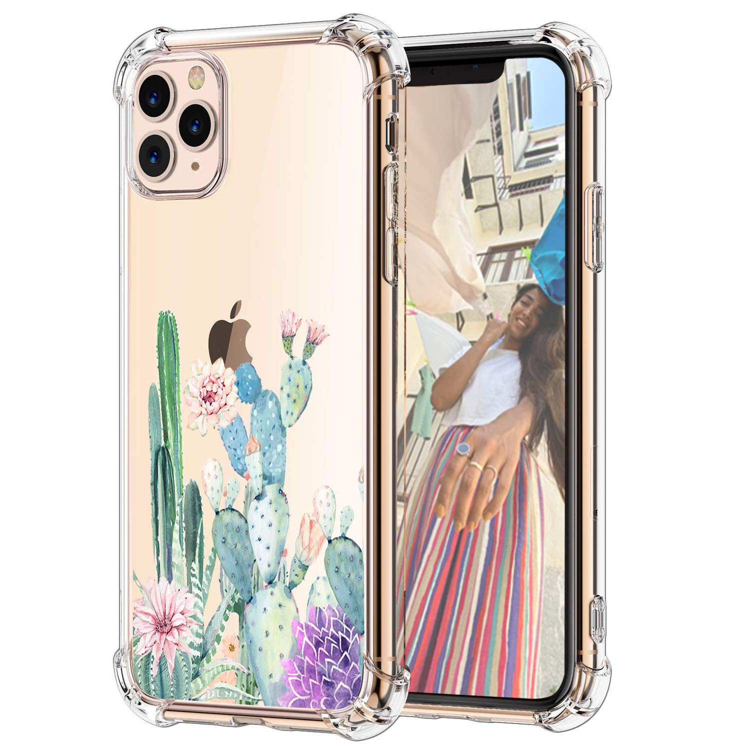 """Hepix Cactus iPhone 11 Pro Case Cute Cacti Flowers Clear Pro 11 Cases for Girls Women, Slim Flexible TPU with 4 Protective Corners Anti-Scratch Rasied Lip Shock Absorbing for iPhone 11 Pro (5.8"""")"""