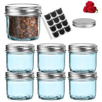 New Style! LovoIn 4oz 6Pack Blue Glass Jars with Silver Metal Airtight Lids,Fashioned Mason Jars for Canning, Baby Foods, Jams, Jellies, Fruit Syrups, Body Milk