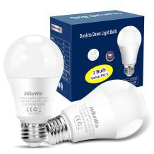 MikeWin Outdoor Dusk to Dawn Light Bulbs 2 Pack, 12W(100W Equivalent), E26 5000K, Built-in Photocell Detector, Auto On/Off, Smart Sensor LED Lighting Bulb for Porch Hallway Garage Boundary