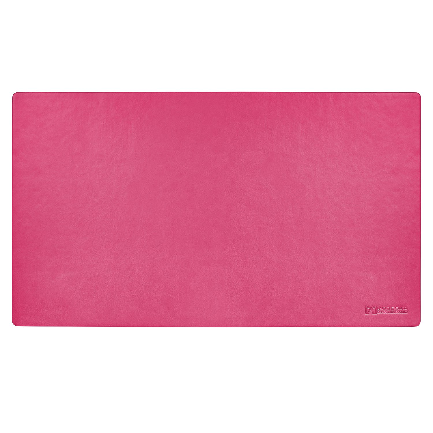 """Modeska 24"""" x 14"""" Leather Desk Pad - SKIDSTOP Ultra Smooth Executive Blotter and Protective Mat Large Mouse Pad for Remote Work, Home Studio or Corporate Office Space – Pink"""