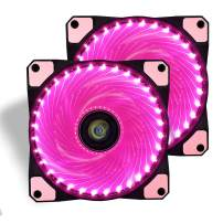 120mm PC Case Cooling Fan,CONISY Gaming 120 mm Super Silent Computer LED Cooler High Airflow Fans for Desktops - Pink (2 Pack)
