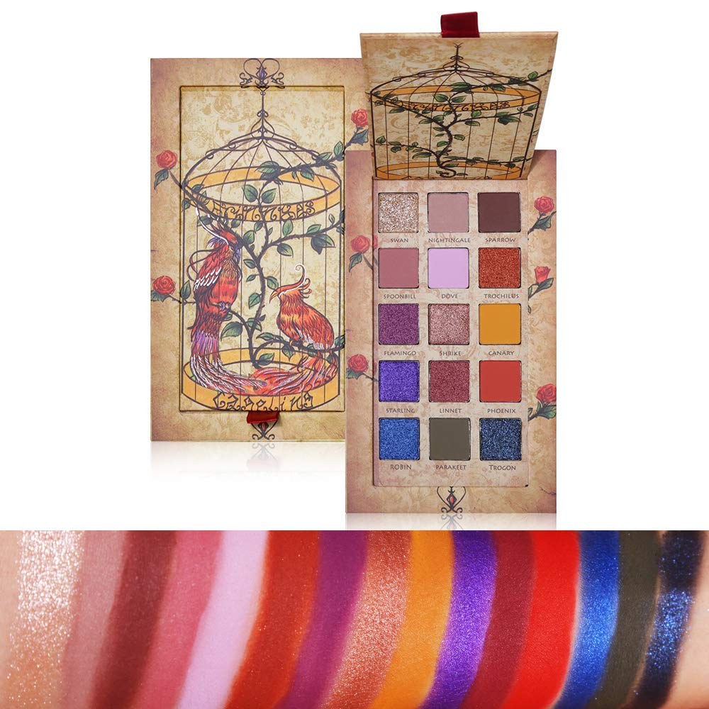 Eyeshadow Palette, ROMANTIC BEAR 15 Colors Bright Colors Matte Shimmer Glitter Eyeshadow Makeup Palette Highly Pigmented Long Lasting Silky Powder Eye Shadow Cosmetics Set