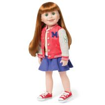 Maplelea Campus Collection Outfit for 18 Inch Dolls with Bomber School Jacket, Skirt, Shoes