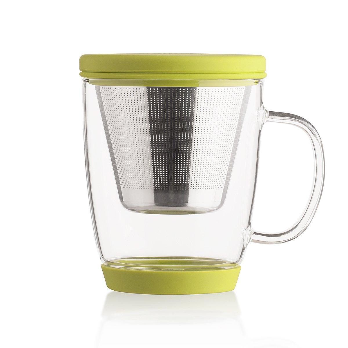 Emoi 16oz Teapot, Glass Brewing Tea Cup, Tea Infuser Mug, Loose Leaf Flower Tea Maker w/Strainer, Food Grade Silicone Lid&Base, Heat Resistant, Noise Free, Safe&Healthy, Easy to Clean.(H1117G)