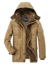 APTRO Men's Winter Military Warm Coat Faux Fur Lined Parka Jacket with Detachable Hooded