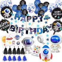 59Pcs Space Birthday Party Supplies Happy Birthday Banner Cupcake Toppers Rocket Astronaut Balloons Universe Planet Themed Party Supplies Birthday Galaxy Theme Party Decorations for Boys Girls