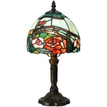 Bieye L10736 Rose Flower Tiffany Style Stained Glass Table Lamp with 8-inch Wide Lampshade, 15-inch Tall, Red