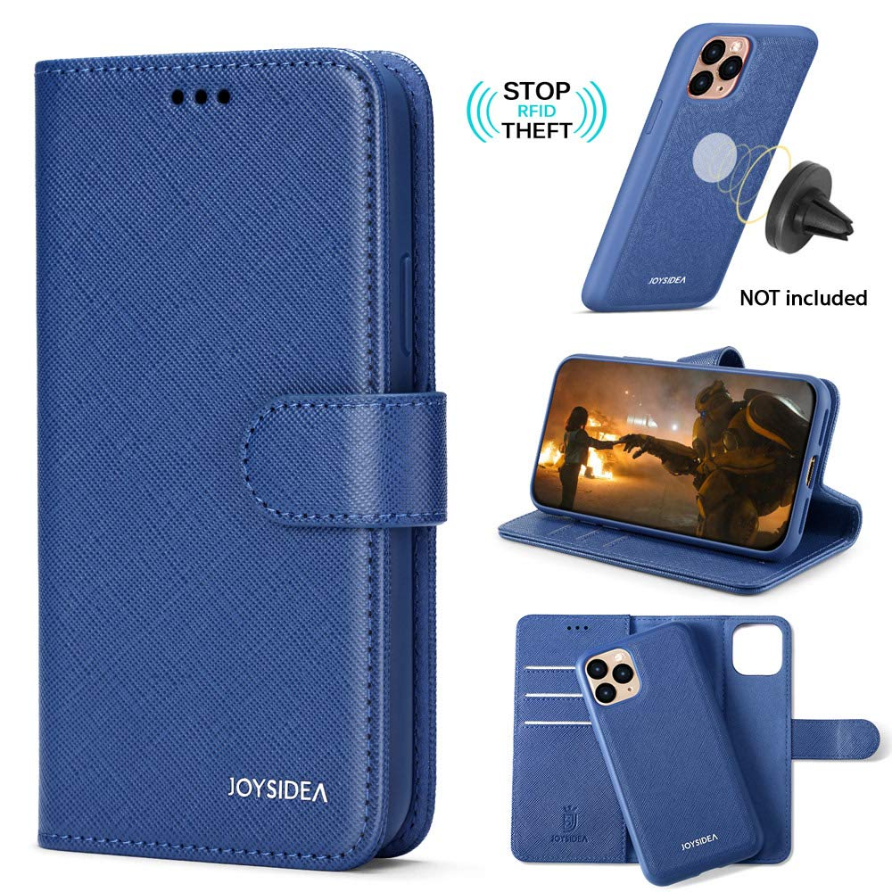 """JOYSIDEA 2-in-1 iPhone 11 Pro Max Wallet Case Magnetic Detachable, Slim Vegan Leather Flip Folio Case with Card Holder, RFID Protection & Kickstand, Fit Car Mount for iPhone 11 Pro Max 6.5"""", Blue"""