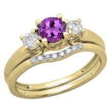 Dazzlingrock Collection 14K 5 MM Round Gemstone & White Diamond Bridal 3 Stone Engagement Ring Wedding Set, Yellow Gold