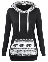 MOOSUNGEEK Women Patchwork Hoodie Sweatshirts with Elephant Pocket