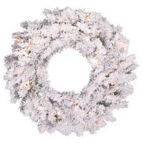 "Vickerman 24"" Unlit Flocked Alaskan Pine Wreath"