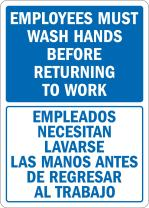 "SmartSign 3M Engineer Grade Reflective Sign, Legend ""Employees Wash Hands Before Returning to Work"", Bilingual Sign, 10"" high x 7"" wide, Blue on White"