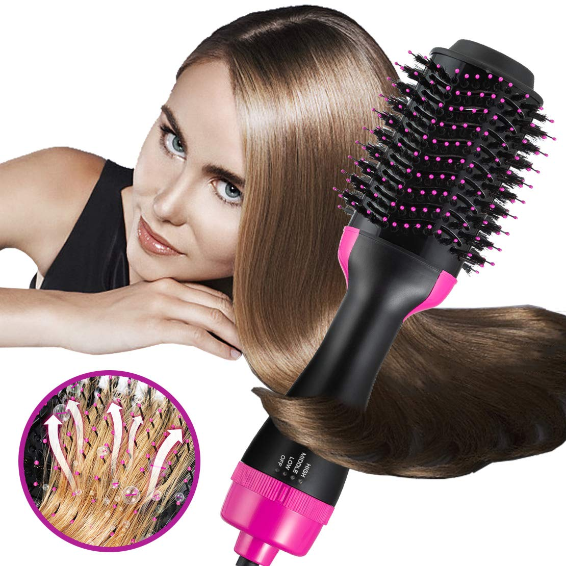 Hot Air Brushes One-Step Hair Dryer & Volumizer 3-in-1 Negative Ion Hair Straightener Hair Curler Hair Styler Straightening Brush Hot Air Spin Brush Salon Curly Hair Comb Reduce Frizz Static (Rosyred)
