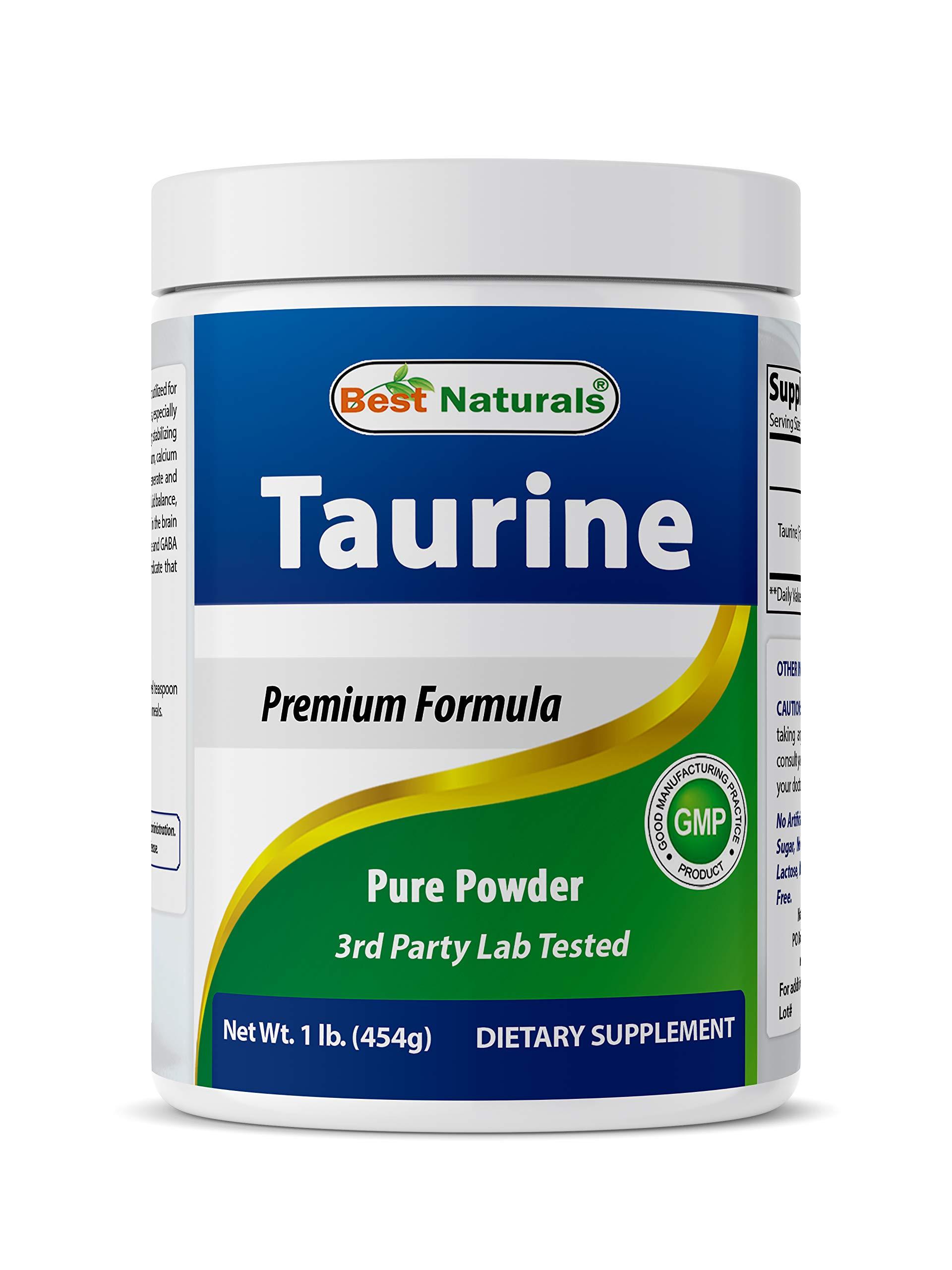 Best Naturals 100% Pure Taurine Powder Free Form - Taurine 1000mg per Serving - 1 Lb (454 gm)