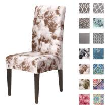 Padgene Stretch Dining Chair Covers Removable Washable Spandex Slipcovers Chair Protective Covers (6 Pcs, Graffiti Coffee)