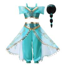 Pettigirl Girls Princess Dress Up Costume Teal & Gold Outfit