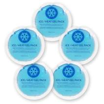 EverOne Round Reusable Gel Ice Pack with Cloth Backing for Therapeutic Uses - 5Count