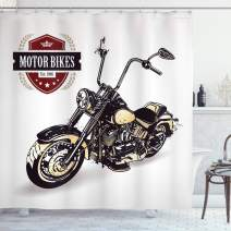 """Ambesonne Motorcycle Shower Curtain, Chopper Customized Motorcycle with Club Insignia Bikes Hippie Classic Retro, Cloth Fabric Bathroom Decor Set with Hooks, 75"""" Long, Black Beige"""