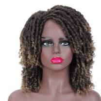 "Dreadlock Wig Braided Wigs for Black Women 6"" Afro Short Synthetic Twist Curly Wigs (6"", T1B/27)"