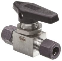 """Parker MB Series Stainless Steel 316 Ball Valve, Inline, 3/8"""" A-Lok Compression Fitting"""