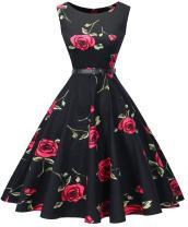 I2CRAZY Womens Boatneck Sleeveless Vintage 1950s Retro Rockabilly Prom Tea Dress with Belt  ,Small , F09