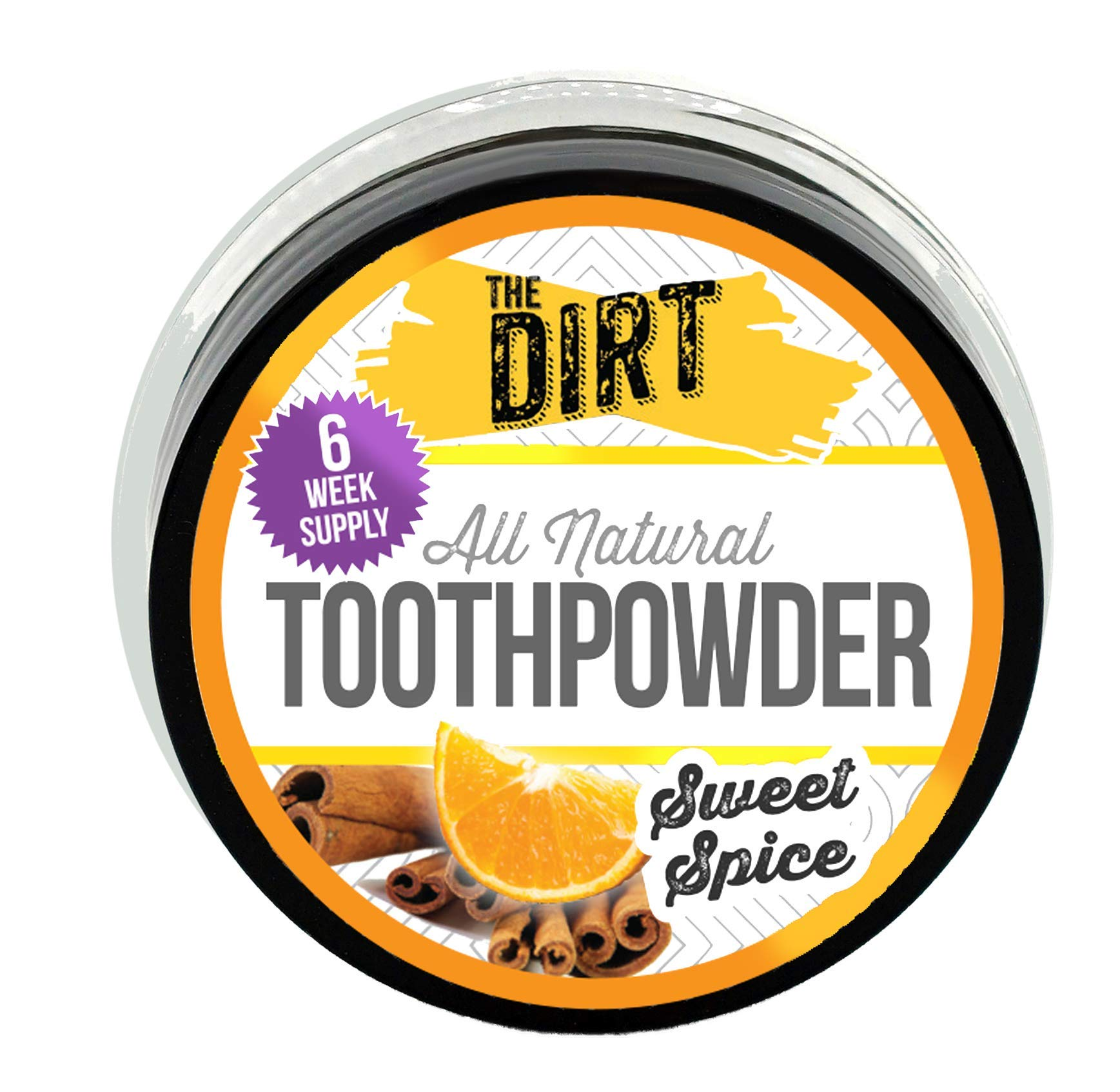 The Dirt All Natural Tooth Powder - Gluten & Fluoride Free Organic Teeth Whitening Powder with Essential Oils   No Added Sweeteners, Artificial Flavors or Colors - Sweet Spice, 3 Month Supply