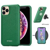 JOYSIDEA Saffiano iPhone 11 Magnetic Case Fit Car Mount & Wireless Charging, Premium Vegan Leather Phone Back Cover, Slim Full-Body Protective TPU/PC Bumper for iPhone 11 6.1 inch – Green