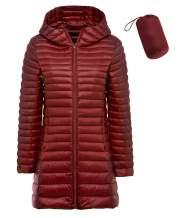 sunseen Women's Packable Down Coat Lightweight Plus Size Puffer Jacket Hooded Slim Warm Outdoor Sports Travel Parka Outerwear