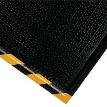 "M+A Matting 466 Happy Feet Nitrile Rubber Texture Surface Anti-Fatigue Interior Floor Mat with Striped Yellow Border, 5' Length x 3' Width, 1/2"" Thick, Yellow Border"