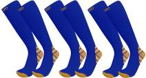 Plus Size Wide Calf 3-Pairs Halcyon Knee High Graduated 20-30mmHG Compression Socks For Men & Women