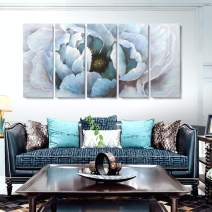 Extra Large Modern Abstract Floral Wall Art Living Room Hand-Painted Blooming Flower Oil Painting on Wrapped Canvas Artwork for Bedroom Bathroom Wall Decoration 5 Pieces Blue Gold