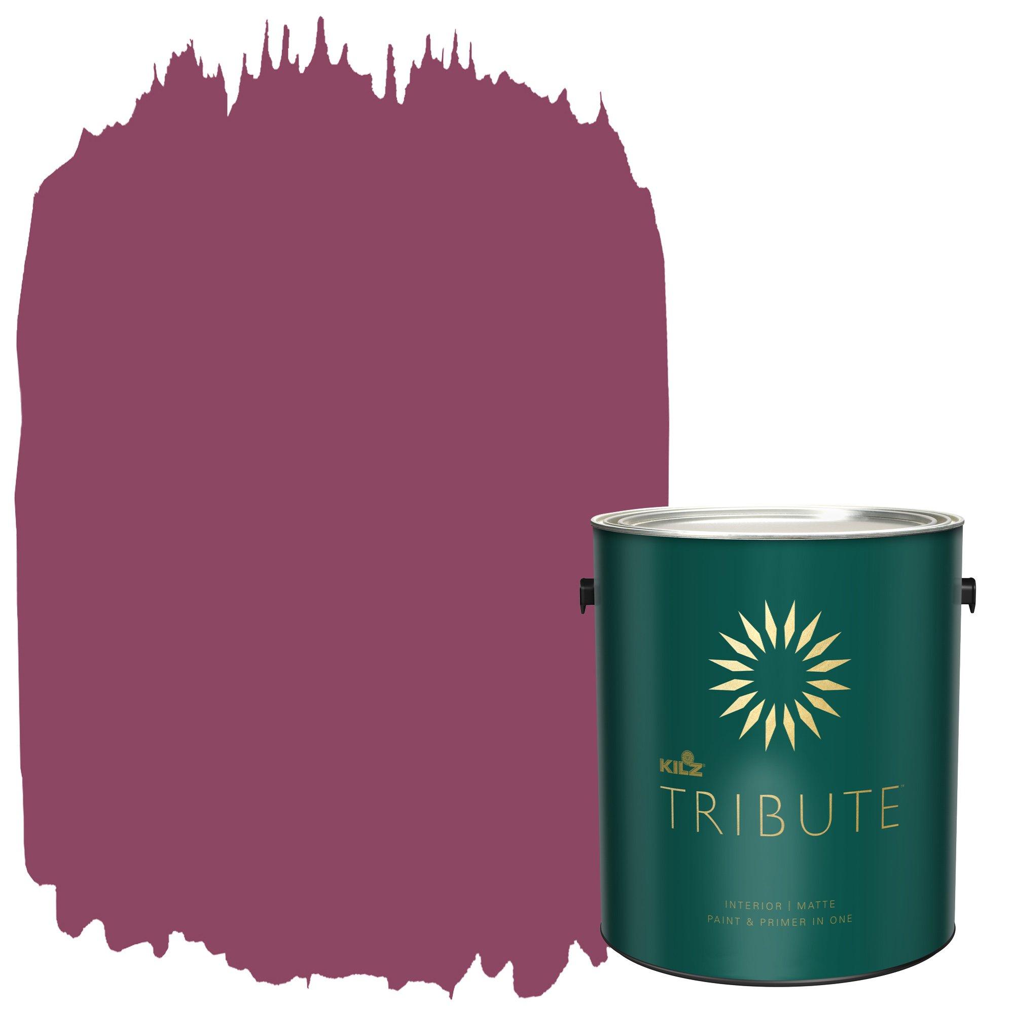 KILZ TRIBUTE Interior Matte Paint and Primer in One, 1 Gallon, Crimson Velvet (TB-98)