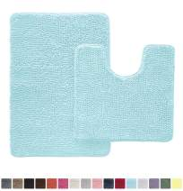 Gorilla Grip Original Shaggy Chenille 2 Piece Area Rug Set Includes Oval U-Shape Contoured Mat for Toilet and 30x20 Bathroom Rugs, Machine Wash Dry, Plush Mats for Tub, Shower and Bathroom, Spa Blue
