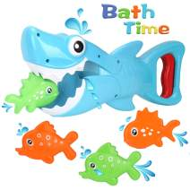 Bammax Bath Toys, Shark Grabber Baby Bath Toy Set Bathtub Toy, Great White Shark with Teeth Biting Action Include 4 Floating Fish Pool Bathroom Bath Time Tub Shark Bath Toy Game for Toddler Infant kid