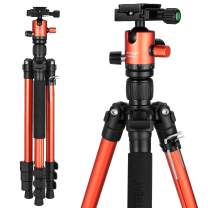 "MACTREM Tripod DSLR SLR Tripod, 62.5"" Light-Weight Aluminum Alloy Camera Tripod Phone Tripod with Phone Holder, 360 Degree Ball Head, Detachable Monopod, 33lbs Load with Carry Bag, Orange"