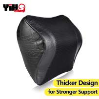 YIHO Car Memory Foam Neck Support Pillow Leatherette Cover Back Head-Rest Seat Cushion with Adjustable Strap for Driver & Passenger Cervical Relief, Great Accessory of Travel Driving Recliner Chair