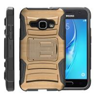TurtleArmor | Compatible with Samsung Galaxy J1 Case (2016) | J120 [Hyper Shock] Hybrid Dual Layer Armor Holster Belt Clip Case Kickstand - Maple Wood