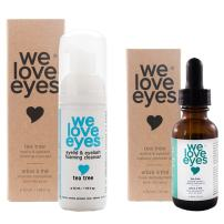 We Love Eyes - All Natural Tea Tree Eyelid Makeup Remover Set (Makeup Remover 30 ml & Foaming Cleanser 40 ml) remove foundation liquid moisturize wash eyelashes. Paraben & Sulfate Free - Made in USA