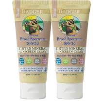 Badger - SPF 30 Tinted Sunscreen Cream for Body & Face - Unscented - Broad Spectrum Water Resistant Reef Safe Sunscreen, Natural Mineral Tinted Sunscreen with Organic Ingredients 2.9 fl oz (2 Pack)