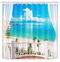 LB Tropical Sand Beach Overlook from Balcony Shower Curtain Set, Hawaiian Paradise Seaside Scene Bathroom Decor, 59 W x 70 L Shower Curtain Waterproof