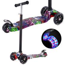 Kick Scooter for Kids with 3 LED Light-Up Wheels Adjustable Height Extra-Wide Deck Scooter Lean to Steer Rear Fender Brake Gift for Kids Toddlers Girls Boys Teens Age 3 Up