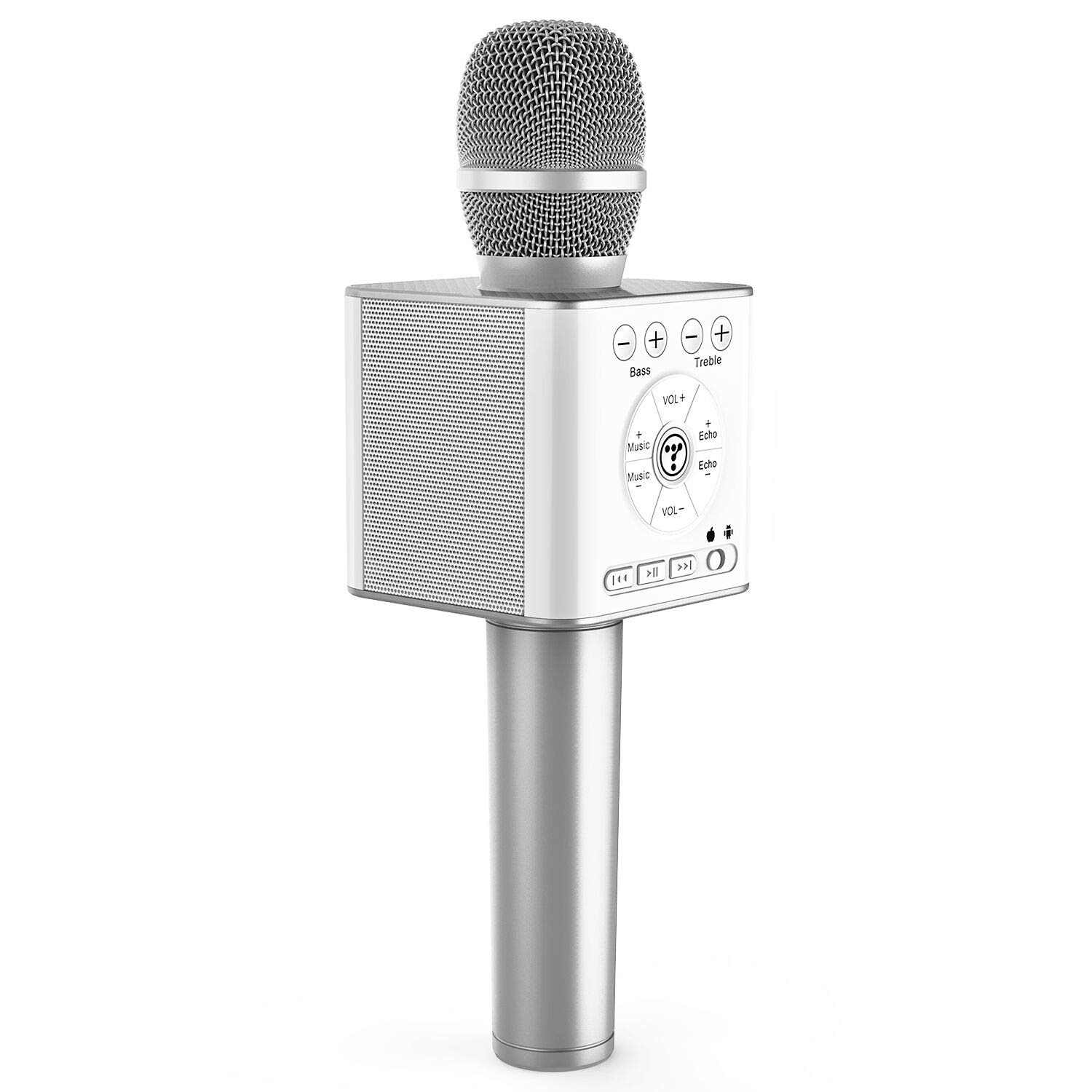 Tosing 04 Wireless Bluetooth Karaoke Microphone,Louder Volume 10W Power, More Bass, 3-in-1 Portable Handheld Double Speaker Mic Machine for iPhone/Android/iPad/PC (Silver)