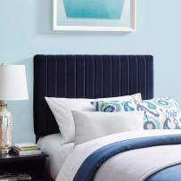 Modway Keira Channel Tufted Performance Velvet Upholstered Twin Headboard in Midnight Blue