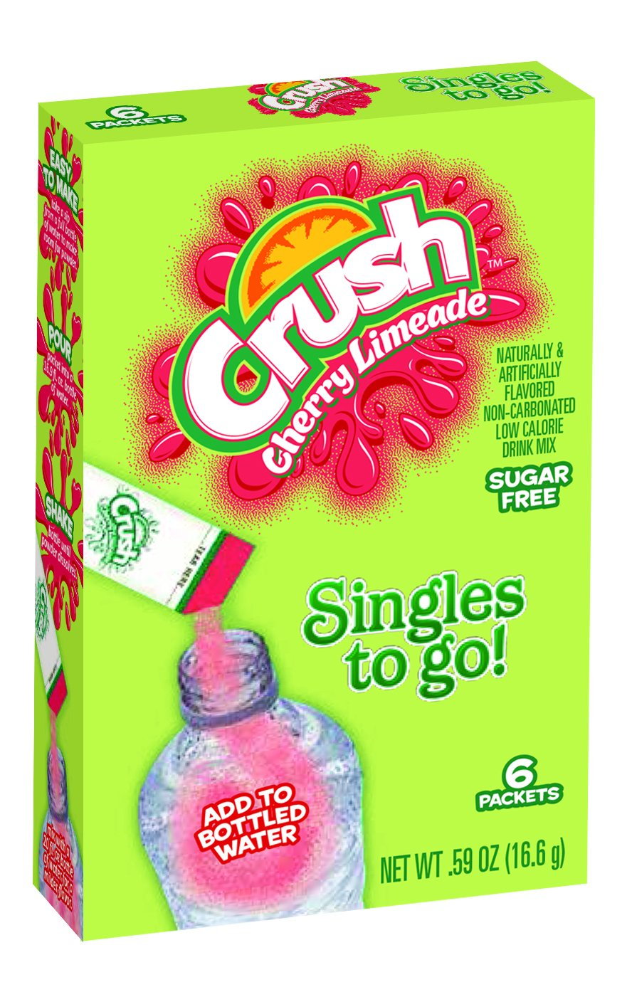 Crush Singles To Go Powder Packets, Water Drink Mix, Cherry Limeade, Non-Carbonated, Sugar Free Sticks (12 Boxes with 6 Packets Each - 72 Total Servings) - ORIGINAL FLAVOR