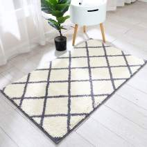 Trellis Area Rug Made of 100% Polyester Extra Soft and Non Slip,Specialized in Machine Washable Accent Rug(Grey,45x27 Inch )