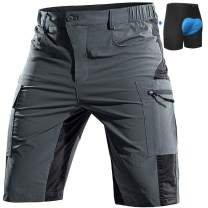 Cycorld Mountain-Bike-Shorts-Mens-Padded MTB Biking Baggy Cycling Short Removable Padding Liner with Zip Pockets