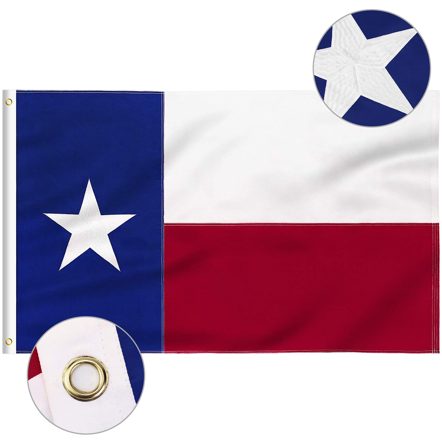 FLAGBURG Texas Flag 4x6 FT, TX Flags with Embroidered Star, Sewn Stripes (Not Print), Canvas Header & Brass Grommets, 100% High-Grade Outdoor Nylon for All-Weather Outdoor Display