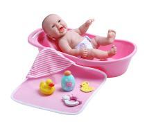 """JC Toys La Newborn Realistic Baby Doll Bathtub Gift Set Featuring 13"""" All Vinyl Newborn Doll (8 Piece)"""