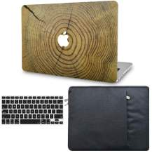 """KECC Laptop Case for MacBook Air 13"""" w/Keyboard Cover + Sleeve Plastic Hard Shell CaseA1466/A1369 (Cracked Wood)"""